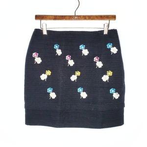 Anthropologie HD in Paris Black Floral Mini Skirt